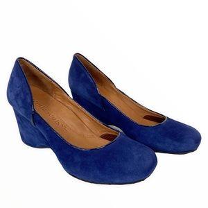 Gentle Soul Amaru Retro Royal Blue Leather Suede Wedge Heel Pump Shoes